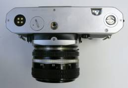 Nikon FE2 35mm film photography camera, bottom plate.